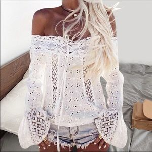 Tops - Boho Lace Off the Shoulder Long Sleeve Top Blouse